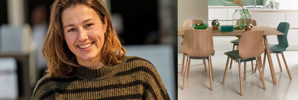 Marike Andeweg en haar ontworpen eetkamerstoelen Curv voor EYYE.