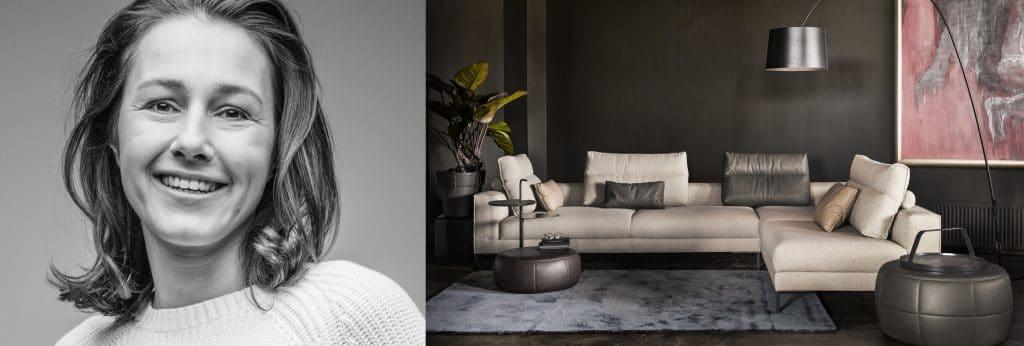 Marike Andeweg en haar ontworpen bank Aikon Lounge voor Design on Stock.
